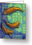 Blue Green Water Greeting Cards - Coy Koi Greeting Card by Jane Bucci