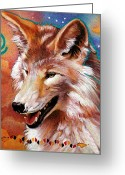 Denim Jacket Greeting Cards - Coyote - The Trickster Greeting Card by J W Baker