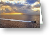 Cloudscape Photographs Greeting Cards - Cozumel Escort Boat Greeting Card by Jason Politte