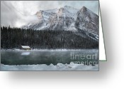 Canadian Rockies Greeting Cards - Cozy Cabin Morning Greeting Card by Andrea Hazel Ihlefeld