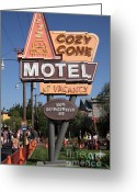 California Adventure Park Greeting Cards - Cozy Cone Motel - Radiator Springs Cars Land - Disney California Adventure - Anaheim California - 5D Greeting Card by Wingsdomain Art and Photography
