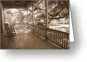 Rocking Chairs Greeting Cards - Cozy Southern Porch Greeting Card by Carol Groenen