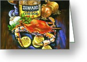 Beer Greeting Cards - Crab Fixins Greeting Card by Dianne Parks