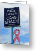 Pink Ribbon Greeting Cards - Crab Shack Sign with Pink Ribbon Greeting Card by Suzanne Gaff