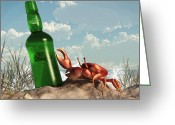 Fiddler Crab Greeting Cards - Crab with Bottle on the Beach Greeting Card by Daniel Eskridge