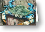 Blue Crab Greeting Cards - Crabby Blue Greeting Card by Dianne Parks