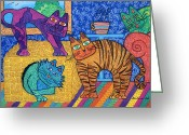 Tea Pastels Greeting Cards - Cracked Cats At Home Greeting Card by Lisa Frances Judd