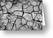 Barren Greeting Cards - Cracked Dry Earth Greeting Card by Christoph Hetzmannseder