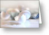 Learning Photo Greeting Cards - Cracked egg shell on the counter Greeting Card by Sandra Cunningham