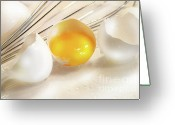 Nourishment Greeting Cards - Cracked egg with yolk Greeting Card by Sandra Cunningham