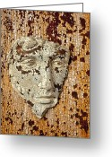 Rust Greeting Cards - Cracked face Greeting Card by Garry Gay