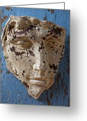Chin Greeting Cards - Cracked Face On Blue Wall Greeting Card by Garry Gay