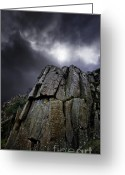 Storm Cloud Greeting Cards - Crags Greeting Card by Meirion Matthias