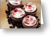 Cranberries Greeting Cards - Cranberry Cupcakes Greeting Card by Sophie Vigneault
