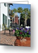 Atlantic Beaches Greeting Cards - Crane Cottage Patio on Jekyll Island Greeting Card by Bruce Gourley