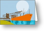 Load Greeting Cards - Crane Loading A Ship Greeting Card by Aloysius Patrimonio