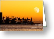 Cargo Greeting Cards - Cranes at Sunset Greeting Card by Carlos Caetano