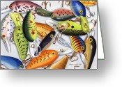 Fish Pond Painting Greeting Cards - Crankbaits Greeting Card by Mark Jennings