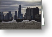 Lake Michgan Greeting Cards - Crashing surf in Stormy Chicago Greeting Card by Sven Brogren