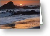 Time Stack Greeting Cards - Crashing Surf On Rocks At Sunset Point Greeting Card by Tim Fitzharris
