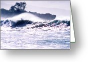 Waimea Greeting Cards - Crashing Surf Waimea Bay Greeting Card by Thomas R Fletcher