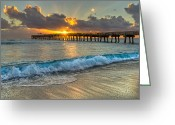 Florida Bridges Greeting Cards - Crashing Waves at Sunrise Greeting Card by Debra and Dave Vanderlaan
