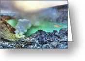 Fumarole Greeting Cards - Crater Ijen Greeting Card by MotHaiBaPhoto Prints