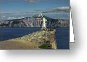 Metallic Greeting Cards - Crater Lake - A Most Sacred Place among the Indians of Southern Oregon Greeting Card by Christine Till