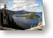 Mountain Ranges Greeting Cards - Crater Lake - Intense blue waters and spectacular views Greeting Card by Christine Till
