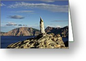 Harsh Greeting Cards - Crater Lake in the southern Cascades of Oregon Greeting Card by Christine Till