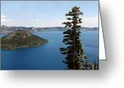 Rock Walls Greeting Cards - Crater Lake, Usa Greeting Card by Tony Craddock