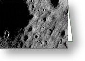Lunar Mare Greeting Cards - Cratered Regions Near The Moons Mare Greeting Card by Stocktrek Images
