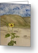 Estephy Sabin Figueroa Painting Greeting Cards - Craters of the Moon Sunflower Greeting Card by Estephy Sabin Figueroa
