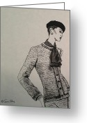 Residential Drawings Greeting Cards - Cravat Greeting Card by Sarah Parks