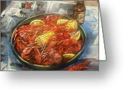 Food Art Painting Greeting Cards - Crawfish Celebration Greeting Card by Dianne Parks