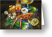 Beer Greeting Cards - Crawfish Fixins Greeting Card by Dianne Parks