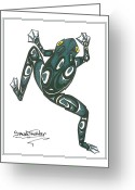 Pole Drawings Greeting Cards - Crawling frog green Greeting Card by Speakthunder Berry
