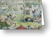 River Banks Greeting Cards - Crayfishing Greeting Card by Carl Larsson
