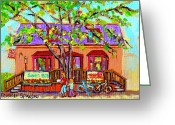 Spring Scenes Painting Greeting Cards - Crazy About Cupcakes Pointe Claire Village Artisan Shops  Saint Anne De Bellevue Montreal  Greeting Card by Carole Spandau