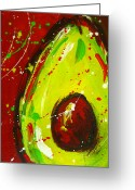 Abstract Greeting Cards Framed Prints Greeting Cards - Crazy Avocado 3 Greeting Card by Patricia Awapara
