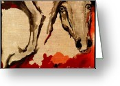 Wild Horse Greeting Cards - Crazy Horse 2 Greeting Card by Angel  Tarantella
