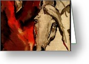 Wild Horse Greeting Cards - Crazy Horse 3 Greeting Card by Angel  Tarantella