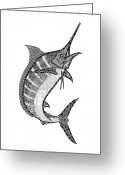 Beaches Drawings Greeting Cards - Crazy Marlin Greeting Card by Carol Lynne