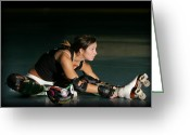Derby Skater Greeting Cards - Crazy Mo Greeting Card by David Lee