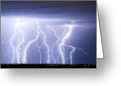 "\""lightning Strike\\\"" Greeting Cards - Crazy Skies Greeting Card by James Bo Insogna"