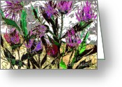 Red Greeting Cards - Crazy Thistle Greeting Card by Navo Art
