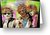 Rock Groups Greeting Cards - Cream Greeting Card by David Lloyd Glover
