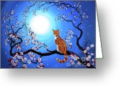 Laura Milnor Iverson Greeting Cards - Creamsicle Kitten in Blue Moonlight Greeting Card by Laura Iverson