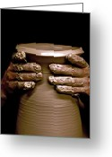 Throw Photo Greeting Cards - Creation at the Potters Wheel Greeting Card by Rob Travis