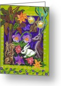 Rabbit Prints Greeting Cards - Creatures Of The Realm Greeting Card by Genevieve Esson